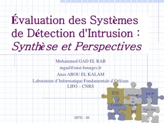 É valuation des Syst è mes de D é tection d'Intrusion :  Synth è se et Perspectives