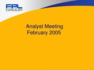 Analyst Meeting  	February 2005
