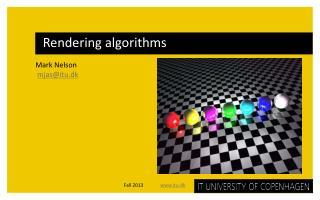 Rendering algorithms