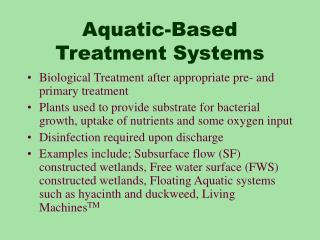 Aquatic-Based Treatment Systems