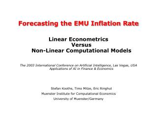 Forecasting the EMU Inflation Rate Linear Econometrics Versus Non-Linear Computational Models