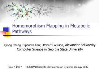 Homomorphism Mapping in Metabolic Pathways