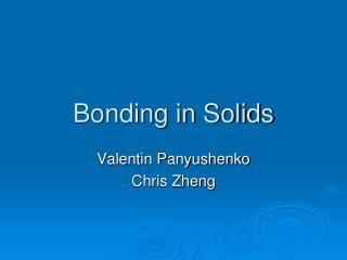 Bonding in Solids