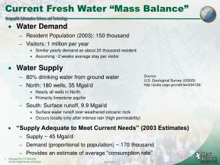 "Current Fresh Water ""Mass Balance"""