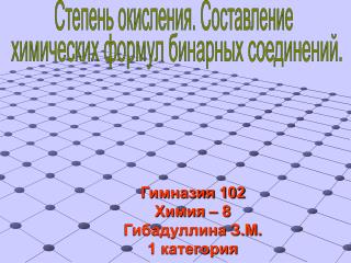 Гимназия 102 Химия – 8 Гибадуллина З.М. 1 категория