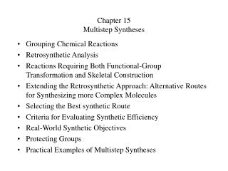 Chapter 15 Multistep Syntheses