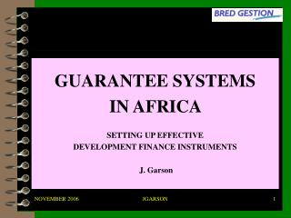 GUARANTEE SYSTEMS IN AFRICA  SETTING UP EFFECTIVE  DEVELOPMENT FINANCE INSTRUMENTS J. Garson