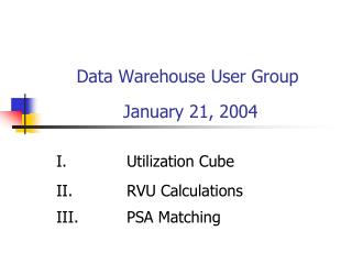 Data Warehouse User Group