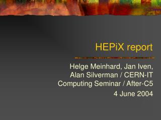 HEPiX report