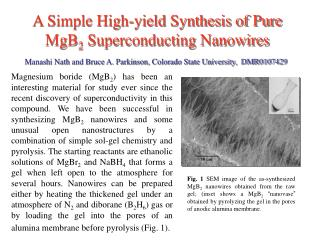 A Simple High-yield Synthesis of Pure MgB 2  Superconducting Nanowires