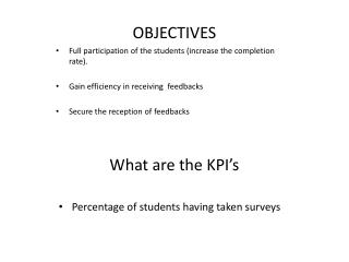 What are the KPI�s