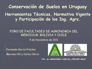 FAC. de AGRONOMIA-UDELAR y RENARE-MGAP