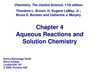 Chapter 4 Aqueous Reactions and Solution Chemistry