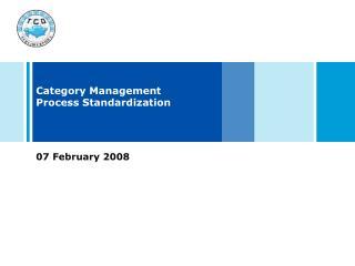 Category Management Process Standardization