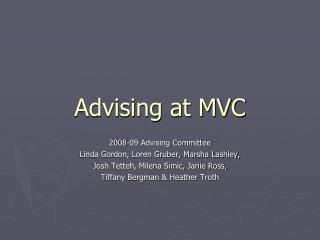 Advising at MVC