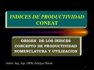 INDICES DE PRODUCTIVIDAD CONEAT