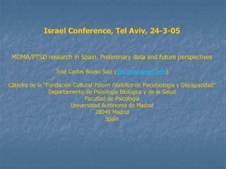 Israel Conference, Tel Aviv, 24-3-05