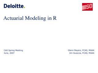 Actuarial Modeling in R