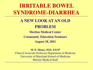IRRITABLE BOWEL SYNDROME-DIARRHEA