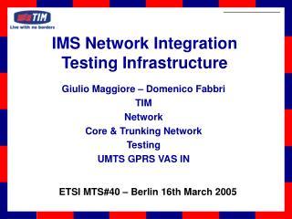 Giulio Maggiore – Domenico Fabbri TIM Network Core & Trunking Network Testing UMTS GPRS VAS IN