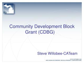Community Development Block Grant (CDBG)