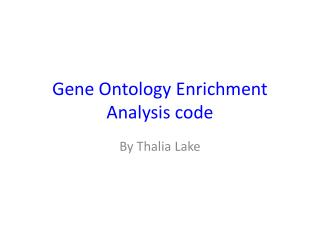 Gene Ontology Enrichment Analysis code
