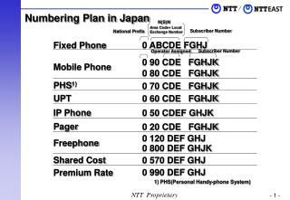 Numbering Plan in Japan