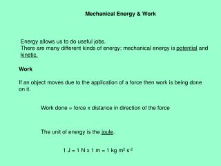 Mechanical Energy & Work