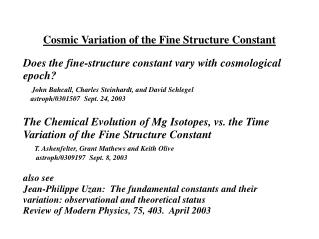 Cosmic Variation of the Fine Structure Constant