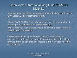 Clean Water State Revolving Fund CWSRF Eligibility