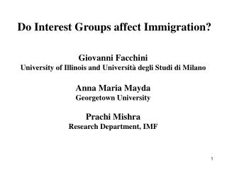 Do Interest Groups affect Immigration?