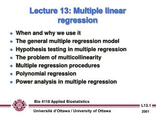 Lecture 13: Multiple linear regression