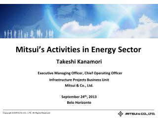 Mitsui's Activities in Energy Sector