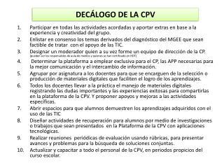 DECÁLOGO DE LA CPV
