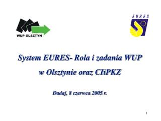 System EURES- Rola i zadania WUP  w Olsztynie oraz CIiPKZ Dadaj, 8 czerwca 2005 r.