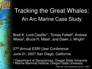 Tracking the Great Whales:
