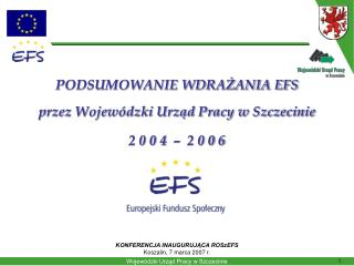 PODSUMOWANIE WDRAŻANIA EFS przez Wojewódzki Urząd Pracy w Szczecinie 2 0 0 4  –  2 0 0 6