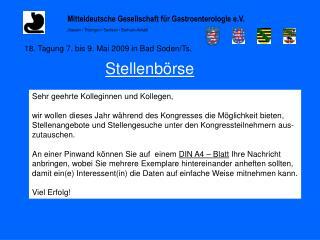 Mitteldeutsche Gesellschaft f�r Gastroenterologie e.V.