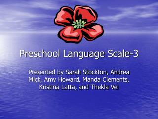 Preschool Language Scale-3