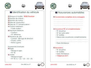 Identification du véhicule  Marque et modèle :  MGB Roadster  Numéro de châssis :