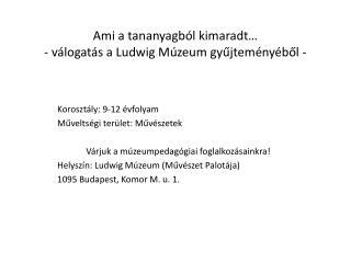 Ami a tananyagból kimaradt… - válogatás a Ludwig Múzeum gyűjteményéből -