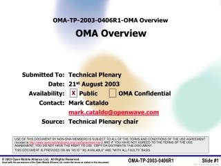OMA-TP-2003-0 406R1 - OMA Overview OMA Overview
