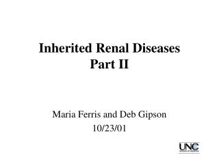Inherited Renal Diseases Part II