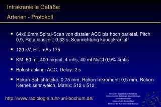 Intrakranielle Gefäße: Arterien - Protokoll