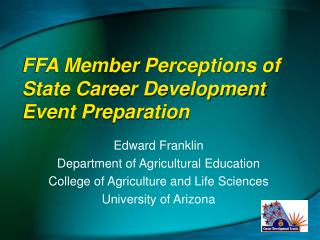 FFA Member Perceptions of State Career Development Event Preparation