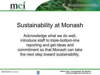 Sustainability at Monash