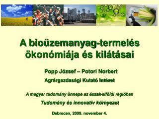 A bioüzemanyag-termelés ökonómiája és kilátásai