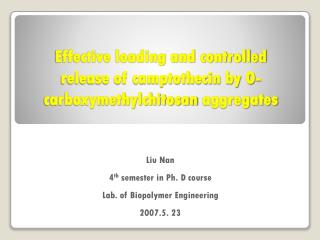 Effective loading and controlled release of camptothecin by O- carboxymethylchitosan aggregates