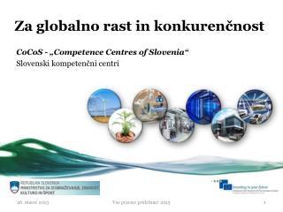 Za globalno rast in konkurenčnost