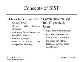 Concepts of SISP